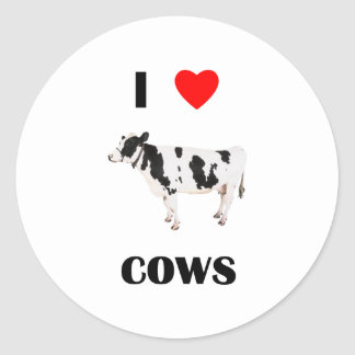 I Love Cows Classic Round Sticker
