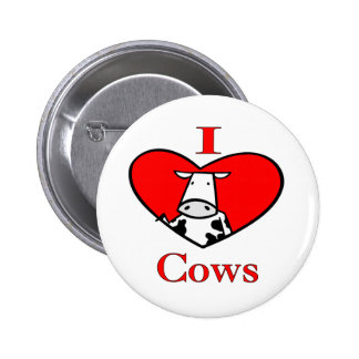 I Love Cows Red 2 Inch Round Button