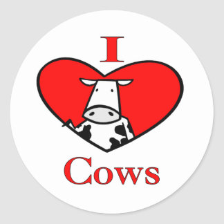 I Love Cows Red Classic Round Sticker
