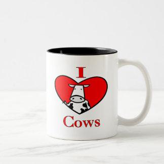 I Love Cows Red Coffee Mug