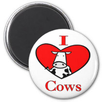 I Love Cows Red Magnet