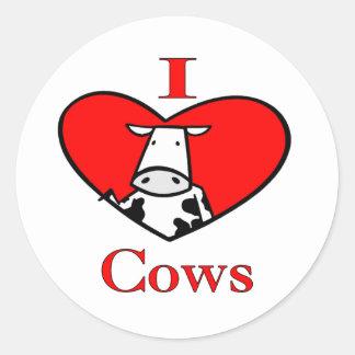 I Love Cows Red Classic Round Sticker