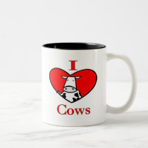 I Love Cows Red Two-Tone Coffee Mug