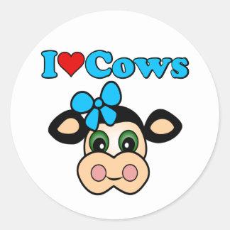 I Love Cows Classic Round Sticker