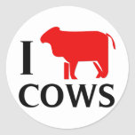 I Love Cows Stickers