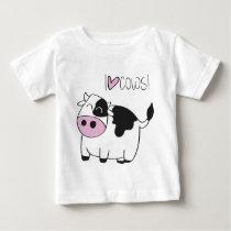 I love cowsI Love Cows - cute funny cartoon cow Baby T-Shirt