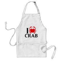 I Love Crab Adult Apron
