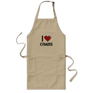 I love Crabs Digital Design Long Apron