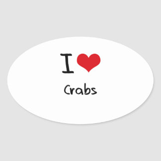 I love Crabs Oval Sticker