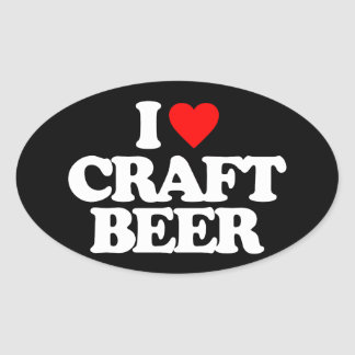 I LOVE CRAFT BEER OVAL STICKER