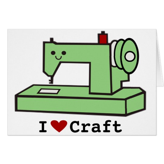 I Love Craft- Kawaii Sewing Machine Card