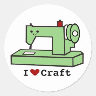 I Love Craft- Kawaii Sewing Machine Classic Round Sticker