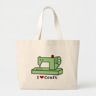 I Love Craft- Kawaii Sewing Machine Large Tote Bag