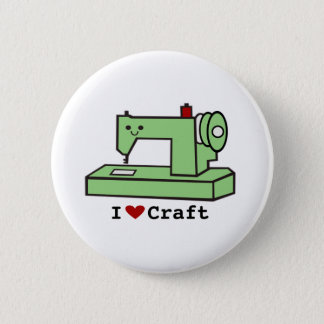 I Love Craft- Kawaii Sewing Machine Pinback Button