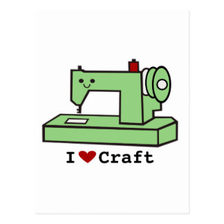 I Love Craft- Kawaii Sewing Machine Postcard
