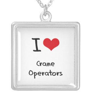 I love Crane Operators Silver Plated Necklace