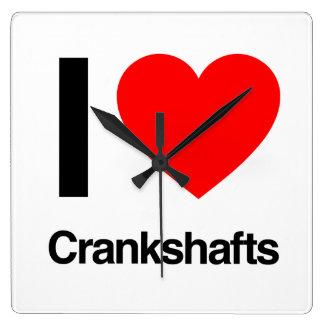 i love crankshafts square wall clocks