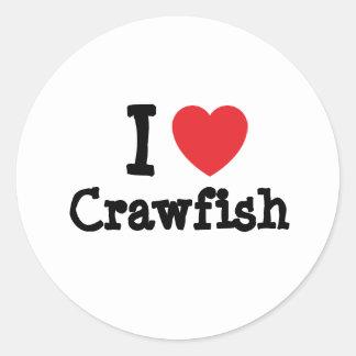 I love Crawfish heart T-Shirt Round Stickers