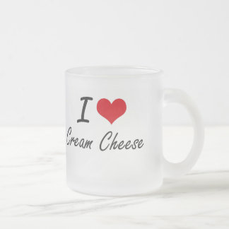 I love Cream Cheese 10 Oz Frosted Glass Coffee Mug