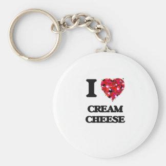 I love Cream Cheese Basic Round Button Keychain