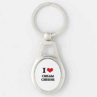 I love Cream Cheese Silver-Colored Oval Metal Keychain