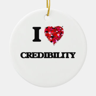 I love Credibility Double-Sided Ceramic Round Christmas Ornament
