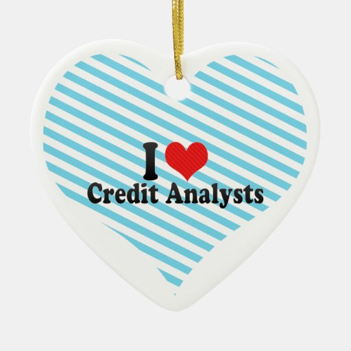 I Love Credit Analysts Double-Sided Heart Ceramic Christmas Ornament