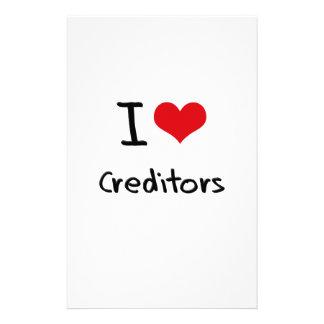 I love Creditors Stationery