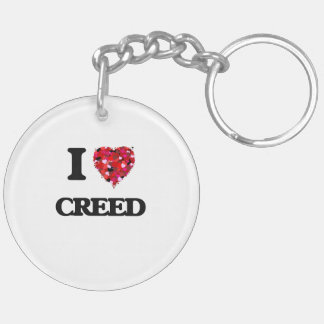 I love Creed Double-Sided Round Acrylic Keychain