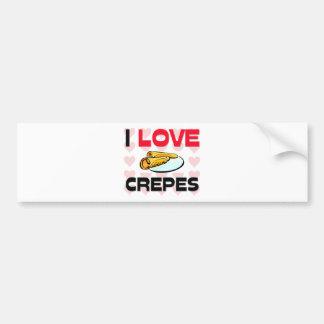 I Love Crepes Car Bumper Sticker