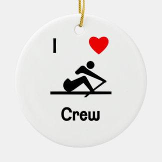 I Love Crew (2) Ceramic Ornament
