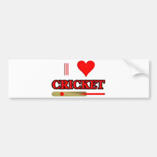 I Love Cricket Car Bumper Sticker