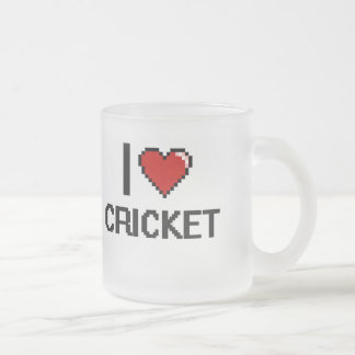 I Love Cricket Digital Retro Design 10 Oz Frosted Glass Coffee Mug
