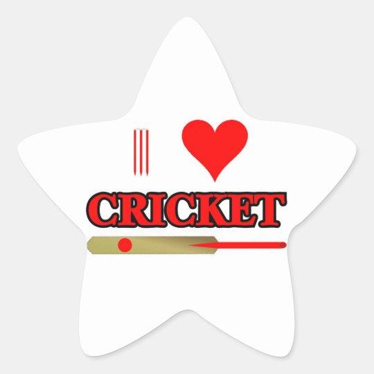 I Love Cricket Star Sticker