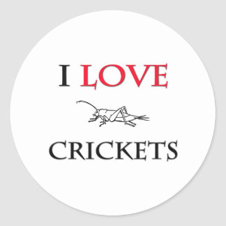 I Love Crickets Round Stickers