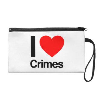 i love crimes wristlet purse