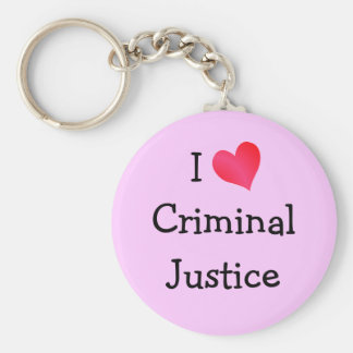 I Love Criminal Justice Basic Round Button Keychain