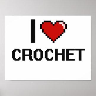 I Love Crochet Digital Retro Design Poster