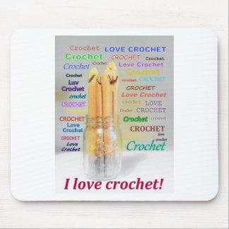 I Love Crochet Hooks Ball Mason Jar Design Mouse Pad