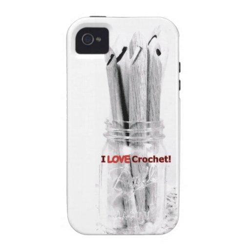 I Love Crochet Mason Jar of Hooks Design Case-Mate iPhone 4 Case