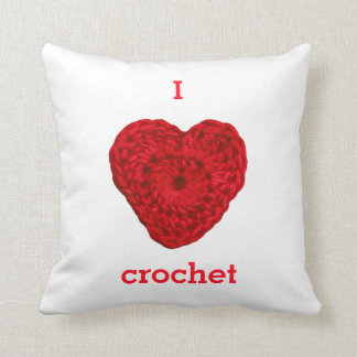 I Love Crochet Yarn Heart Handmade Throw Pillow