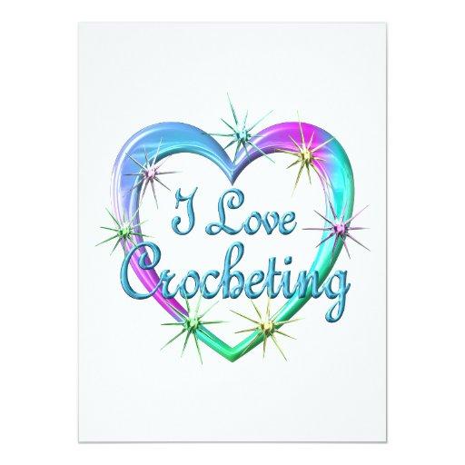 I Love Crocheting 5.5x7.5 Paper Invitation Card