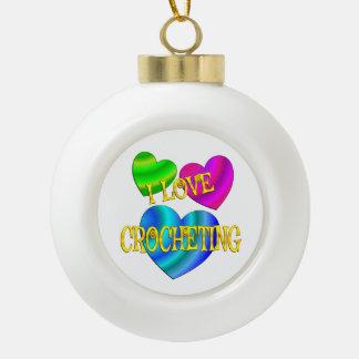 I Love Crocheting Ceramic Ball Christmas Ornament