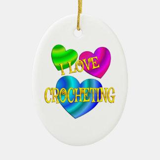 I Love Crocheting Ceramic Ornament