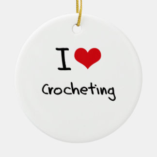 I love Crocheting Double-Sided Ceramic Round Christmas Ornament