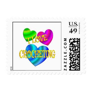 I Love Crocheting Postage Stamp