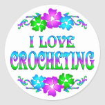 I LOVE CROCHETING ROUND STICKERS