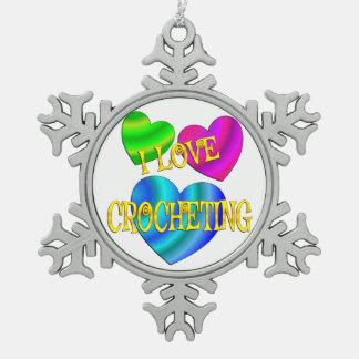 I Love Crocheting Snowflake Pewter Christmas Ornament