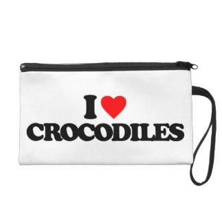 I LOVE CROCODILES WRISTLET PURSE