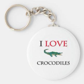 I Love Crocodiles Basic Round Button Keychain